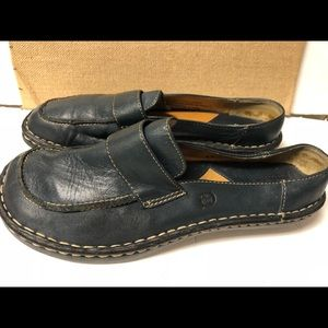 Size 9 Born Navy Leather Loafer Shoes